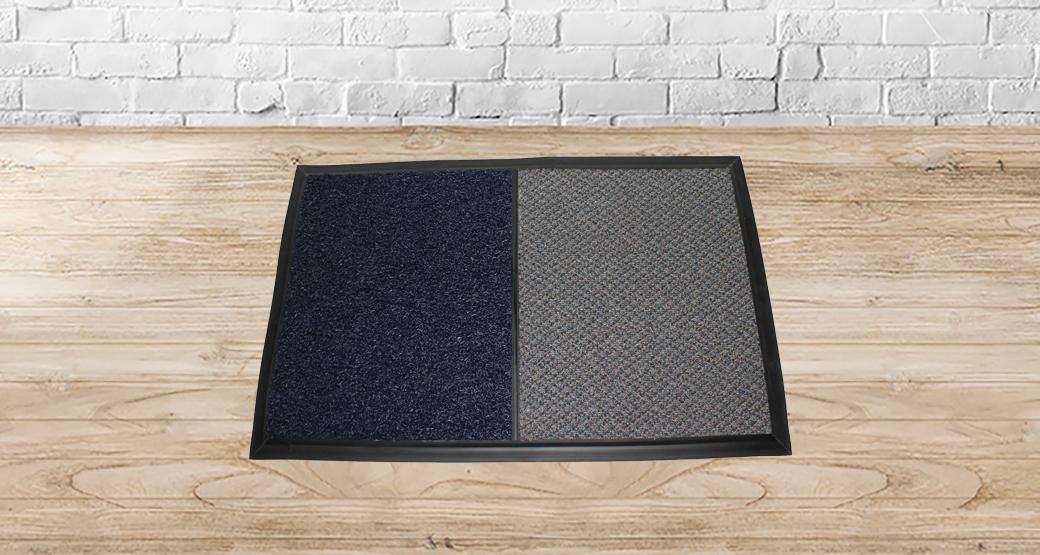 tapete azul y gris